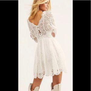 🎉 HP Free People Lottie eyelet ivory boho dress S